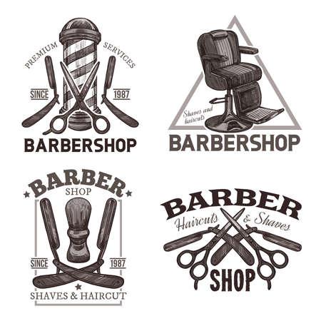 Set of retro barbershop emblems, labels and badges in sketch Stockfoto - 126577728