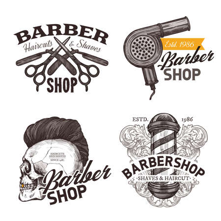 Set of vintage barbershop hand drawn labels. Sketch emblems and hipster trendy badges with typography 일러스트