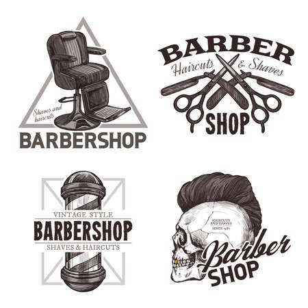 Ensemble d'étiquettes dessinées à la main de salon de coiffure vintage. Esquissez des emblèmes et des badges à la mode hipster avec typographie