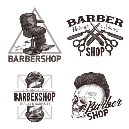 Set of vintage barbershop hand drawn labels. Sketch emblems and hipster trendy badges with typography Ilustracja