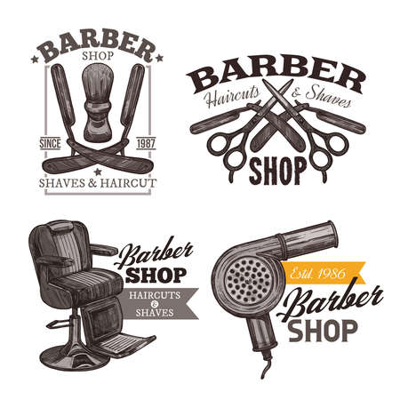 Vintage collection of barbershop engraving labels, badges and emblems. Sketch hand drawn logos