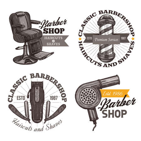 Vintage collection of barbershop engraving labels, badges and emblems. Sketch hand drawn logos Stockfoto - 126577734