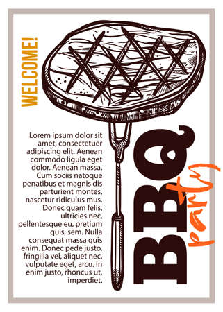 Barbecue vector hand drawn party poster with grill steak. Sketch bbq design with typography Ilustracja