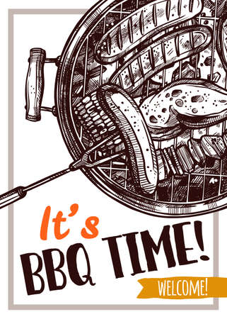 Barbecue vector hand drawn party poster with sausages, meat and chicken on grill. Sketch bbq design with typography