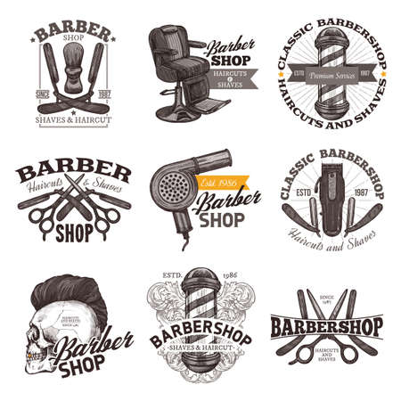 Collection of vector vintage barbershop emblems, labels and badges in hand drawn sketch engraving style. Barber shop design