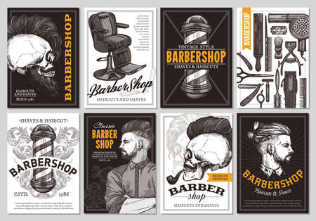Hand drawn vector barber shop banners with sketch engraving illustration. Monochrome templates set of poster design for hair salon Stockfoto - 129731873