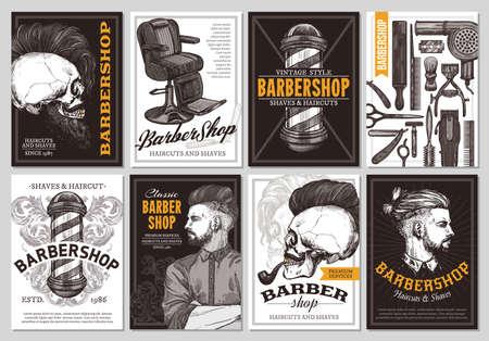 Insegne disegnate a mano del negozio di barbiere di vettore con l'illustrazione dell'incisione di schizzo. Set di modelli monocromatici di poster design per parrucchiere