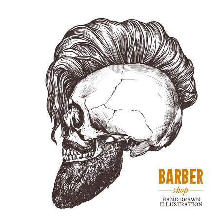 Hand drawn human skull with trendy haircut and beard in the profile. Vector sketch engraving barbershop illustration Stock Illustratie