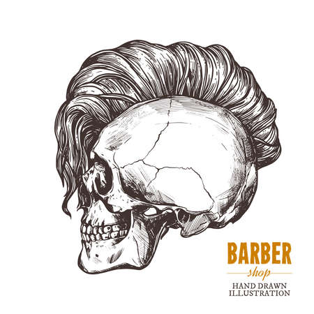 Hand drawn human skull with trendy haircut in the profile. Vector sketch engraving barbershop illustration Stockfoto - 129731877