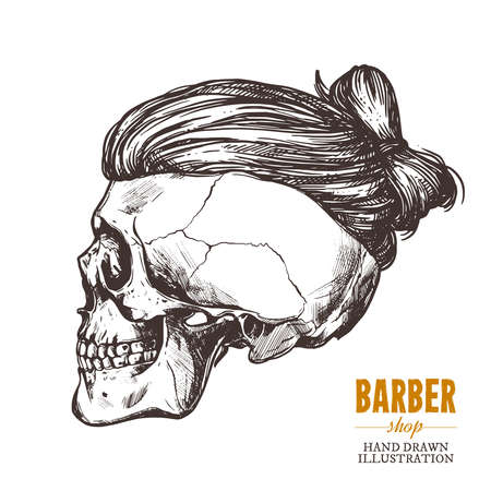 Hand drawn human skull with trendy haircut in the profile. Vector sketch engraving barbershop illustration