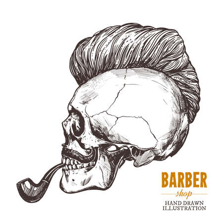 Hand drawn human skull with trendy haircut, mustache and vintage smoking pipe in the profile. Vector sketch engraving barbershop illustration Stock Illustratie