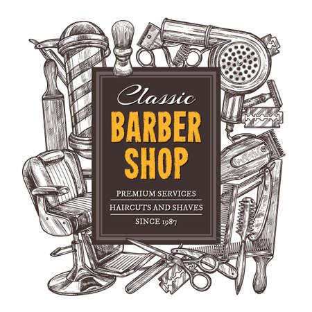 Hand drawn vector barber shop background with sketch engraving illustration. Monochrome templates design for hair salon 版權商用圖片 - 129731880