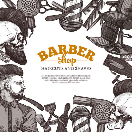 Hand drawn vector barber shop background with sketch engraving illustration. Monochrome templates design for hair salon