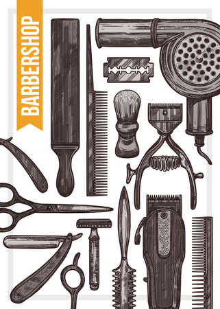 Hand drawn vector barber shop poster with barbershop equipment. Design with sketch engraving illustration and typography Ilustracja