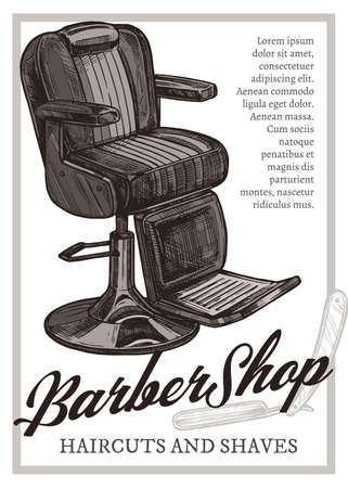 Hand drawn vector barber shop poster with leather armchair. Barbershop design with sketch engraving illustration and typography Stock Illustratie