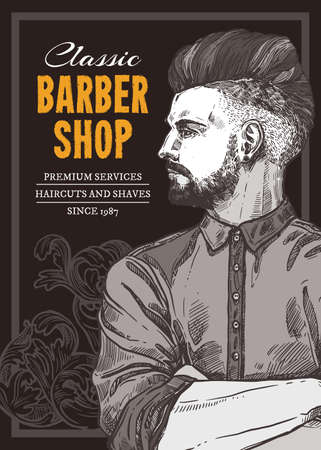 Hand drawn vector barber shop poster with portrait of young fashionable man. Barbershop design with sketch engraving illustration and typography Stock Illustratie