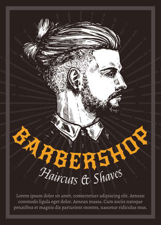 Hand drawn vector barber shop poster with portrait of young man. Barbershop design with sketch engraving illustration and typography Stock Illustratie