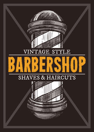 Hand drawn vector barber shop poster with signboard. Barbershop design with sketch engraving illustration and typography