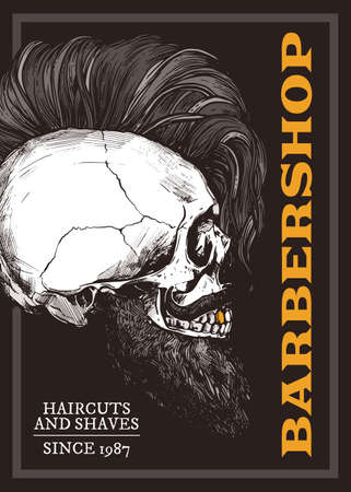 Hand drawn vector barber shop poster with skull with trendy haircut and beard. Barbershop design with sketch engraving illustration and typography