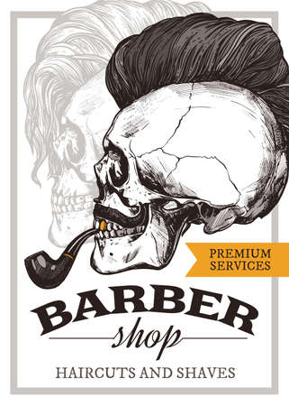Hand drawn vector barber shop poster with skull with trendy haircut, mustache and vintage smoking pipe. Barbershop design with sketch engraving illustration and typography