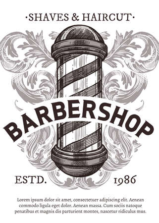 Hand drawn vector poster with barbershop signboard. Barber shop design with sketch engraving illustration and typography Ilustracja