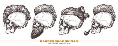 Set of hand drawn human skull with trendy haircut, mustache and vintage smoking pipe in the profile. Vector sketch engraving collection barbershop illustration Ilustracja