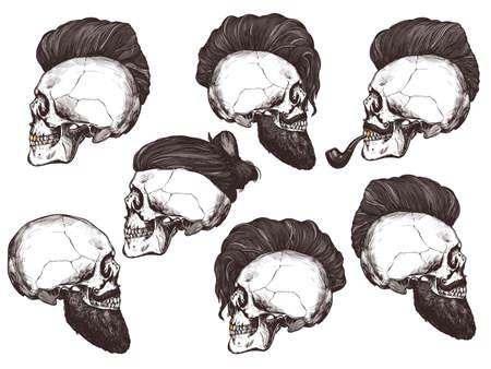 Set di teschio umano disegnato a mano con taglio di capelli alla moda, baffi e pipa vintage nel profilo. Illustrazione del negozio di barbiere della raccolta dell'incisione di schizzo di vettore Vettoriali