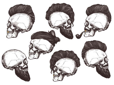 Set of hand drawn human skull with trendy haircut, mustache and vintage smoking pipe in the profile. Vector sketch engraving collection barbershop illustration Stock Illustratie