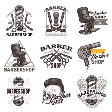 Set of vintage barbershop emblems, labels and badges in hand drawn sketch engraving style. Barber shop design