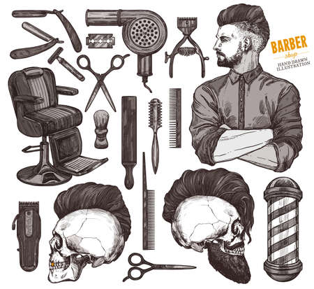 Vector collection of hand drawn barbeshop tools and accessories with hipster model man. Sketch vintage illustration of shaving and hairdresser equipments razor, comb, scissors, barber shop pole, brush Ilustracja