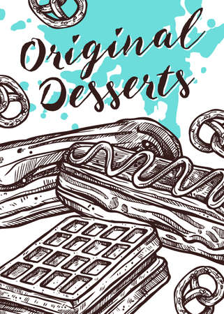Vector hand drawn design poster with cake, waffle and eclair. Homemade bakery and desserts sketch card with typographic