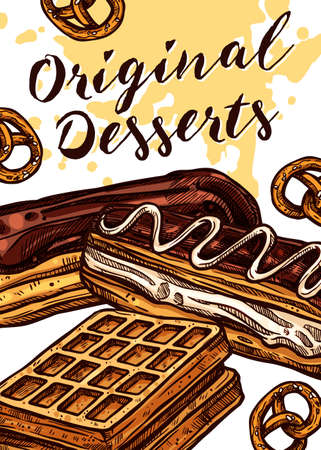 Vector hand drawn design poster with cake, waffle and eclair. Homemade bakery and desserts colorful sketch card with typographic Ilustracja