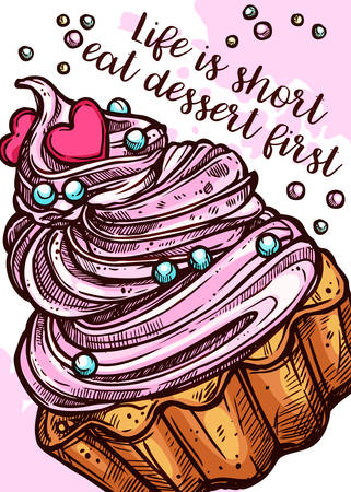Vector hand drawn design poster with cupcake. Homemade bakery and desserts colorful sketch card with typographic Ilustracja
