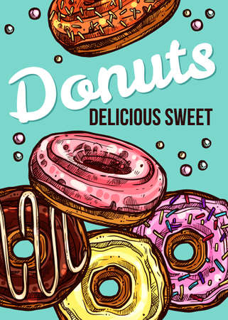 Vector hand drawn design poster with donuts. Homemade bakery and dessert colorful sketch card with typographic Ilustracja