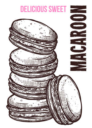 Vector hand drawn design poster with macaroons. Homemade bakery and desserts sketch card with typographic