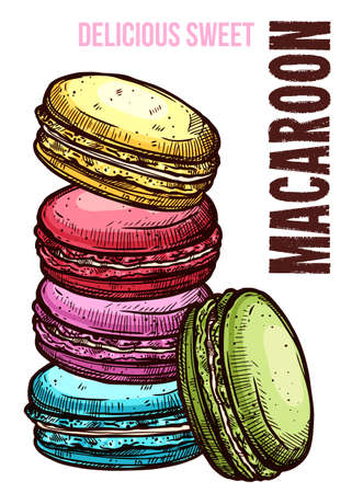 Vector hand drawn design poster with macaroons. Homemade bakery and desserts colorful sketch card with typographic