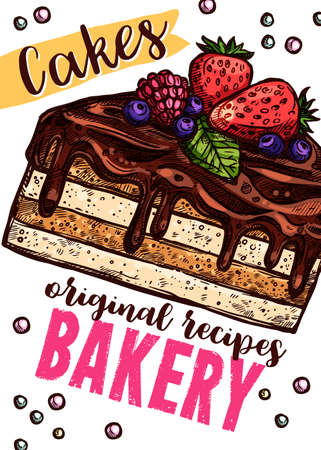 Vector hand drawn design poster with piece of cake. Homemade bakery and desserts colorful sketch card with typographic