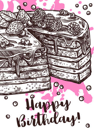 Vector hand drawn poster with cake. Homemade bakery and desserts sketch design with typographic. Happy birthday card