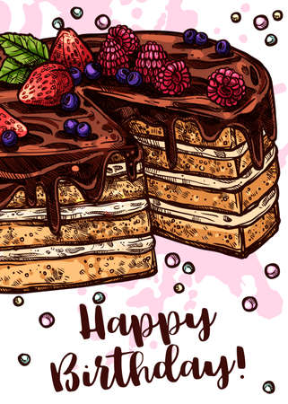 Vector hand drawn poster with cake. Homemade bakery and desserts colorful sketch design with typographic. Happy birthday card