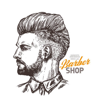 Vector sketch illustration of barbershoper. Portrait of yong hipster man with trendy hairstyle. Hand drawn image of Barber Shop owner 版權商用圖片 - 129732309