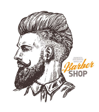 Vector sketch illustration of barbershoper. Portrait of yong hipster man with trendy hairstyle. Hand drawn image of Barber Shop owner 版權商用圖片 - 129732310