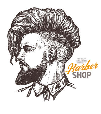 Vector sketch illustration of barbershoper. Portrait of yong hipster man with trendy hairstyle. Hand drawn image of Barber Shop owner Stockfoto - 129732313