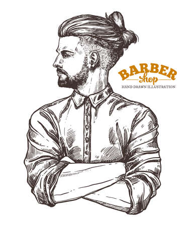 Vector sketch illustration of barbershoper. Portrait of yong hipster man with trendy hairstyle. Hand drawn image of Barber Shop owner Stockfoto - 129732316