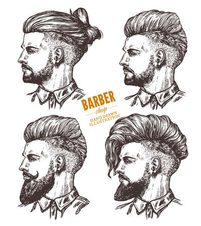 Vector sketch set of illustration of barbershoper. Collection of portrait of yong hipster man with trendy hairstyle. Hand drawn image of Barber Shop owner Stock Illustratie