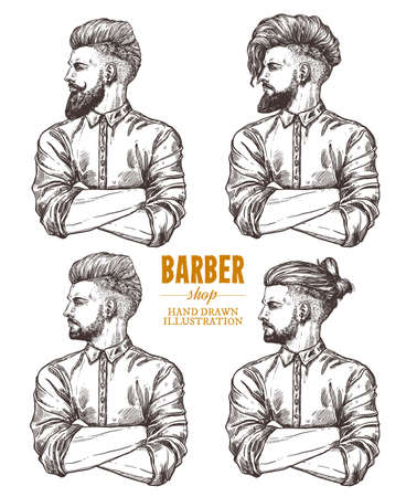 Vector sketch set of illustration of barbershoper. Collection of portrait of yong hipster man with trendy hairstyle. Hand drawn image of Barber Shop owner Ilustracja