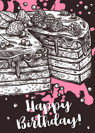 Vector hand drawn poster with cake. Homemade bakery and desserts chalk sketch design with typographic. Happy birthday card on blackboard Illustration