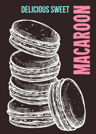 Vector hand drawn design poster with macaroons. Homemade bakery and desserts chalk sketch card with typographic on blackboard