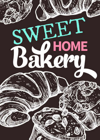Vector hand drawn design poster with croissants and muffins. Homemade bakery and desserts chalk sketch card with typographic on blackboard Ilustracja