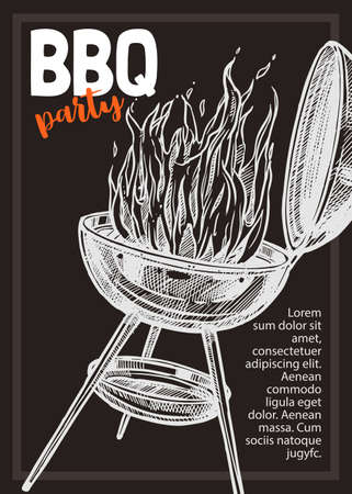 Barbecue vector hand drawn party poster with grill and fire. Sketch bbq design with typography 版權商用圖片 - 129732324