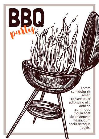 Barbecue vector hand drawn party poster with grill and fire. Sketch bbq design with typography